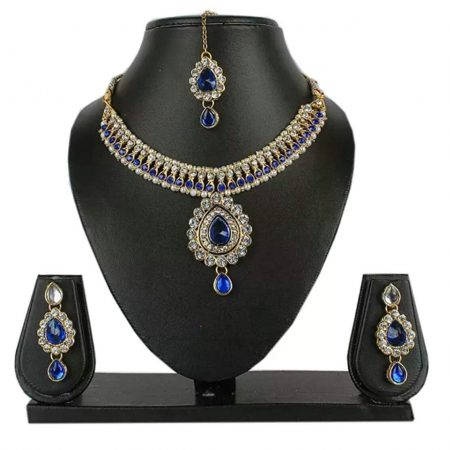 Party Wear Crystal Necklace Set with Earrings