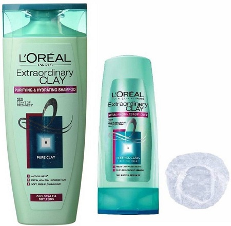 L'Oreal Extraordinary Clay Shampoo + conditioner + shower cap  (360 ml)
