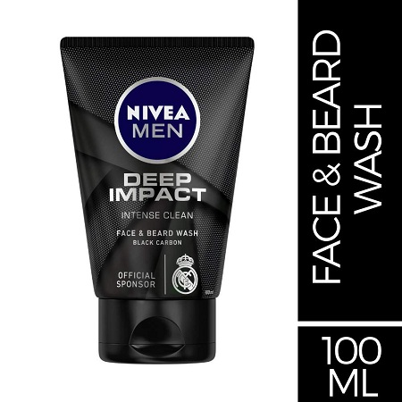 NIVEA MEN Face & Beard Wash, Deep Impact Intense Clean, 100ml