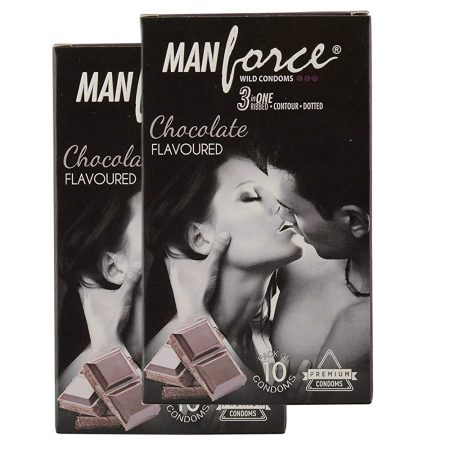 Manforce 3-in-1 Wild Chocolate Flavored Condom – Set of 10 (pack of 2)