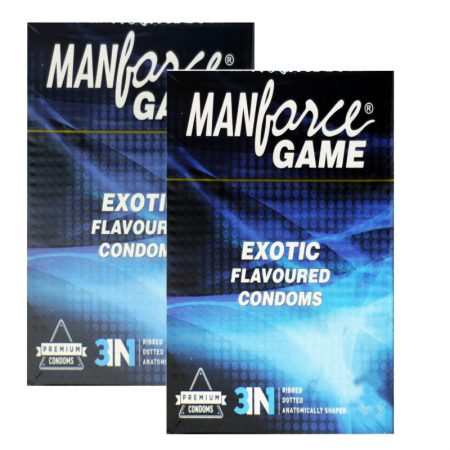 Manforce Game EXOTIC Flavoured 3 In 1 Ribbed Dotted Contoured Condoms – 10 Pieces (Pack of 2)