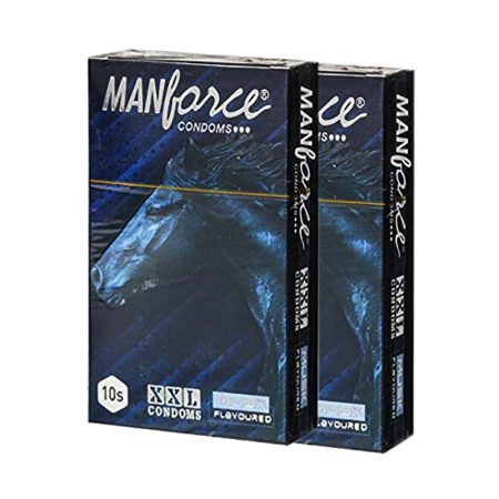 Manforce XXL Musk Flavoured Ribbed with Dotted Textured Condom 10 (Pack of 10)