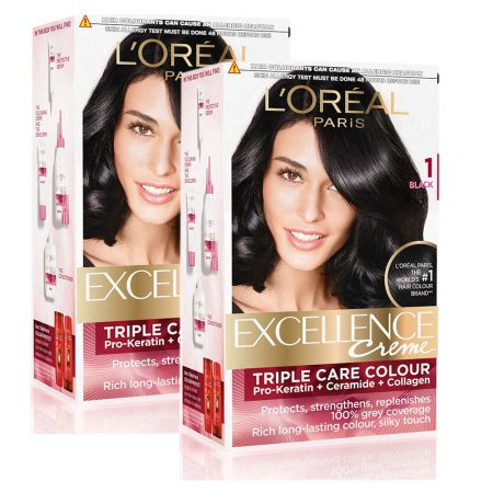 L'Oreal Paris Excellence Creme Hair Color, 1 Black,72ml+100g (Pack of 2)