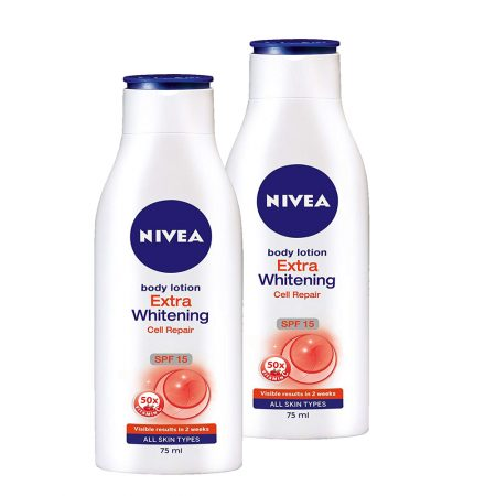 Nivea Extra Whitening Cell Repair Body Lotion, Spf 15, 75ml (Pack of  2)
