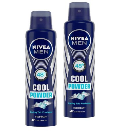 Nivea Men Cool Powder Cooling Talc Freshness  Deodorant, 150ml (Pack of 2)
