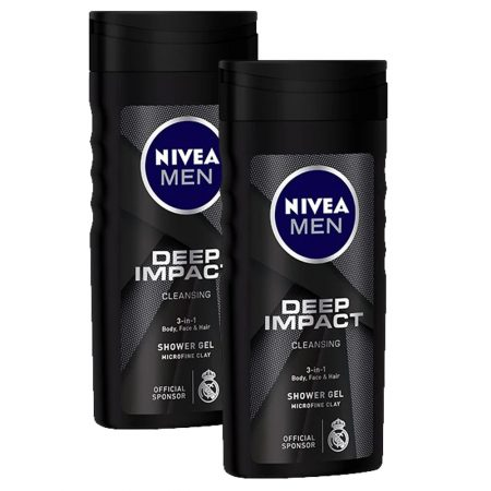 Nivea Men Deep Impact Cleansing Shower Gel,  250ml (Pack of 2)
