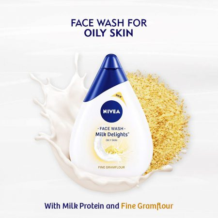 Nivea Milk Delights Face Wash Fine Gramflour For Oily Skin, 50ml (Pack of 2)