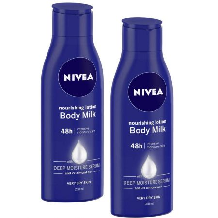 Nivea Nourishing Lotion Body Milk and 2x Almond Oil , 200ml (Pack of 2)