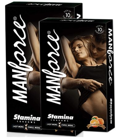 Manforce Orange Flavoured, Extra Dotted Condoms -10's (pack of 2)