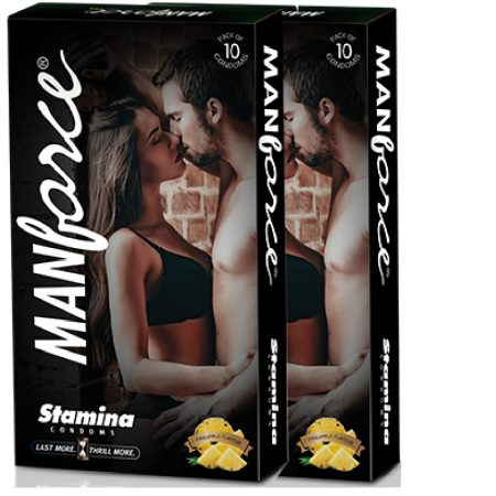 Buy – Manforce Pineapple Flavoured, Extra Dotted Condoms -10's (Pack of 2)