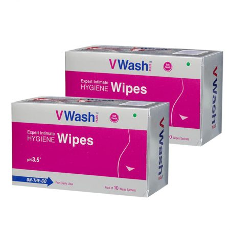 VWash Plus Intimate Hygiene Wipes – 10 Pieces (Pack of 2)
