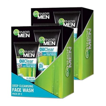 Garnier Men Oil Clear Face Clay D-tox Wash, 50gm (Pack of 2)