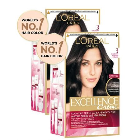 L'Oreal Paris Excellence Creme, 3 Natural Darkest Brown (Pack of 2)