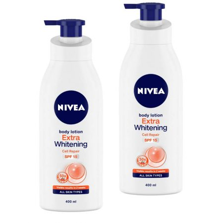 Nivea Extra Whitening Cell Repair Body Lotion, Spf 15, 400ml (Pack of 2)