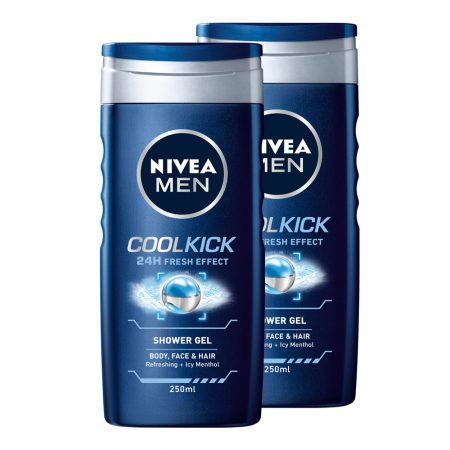 Nivea Men Shower Gel, Cool Kick, 250ml (Pack of 2)