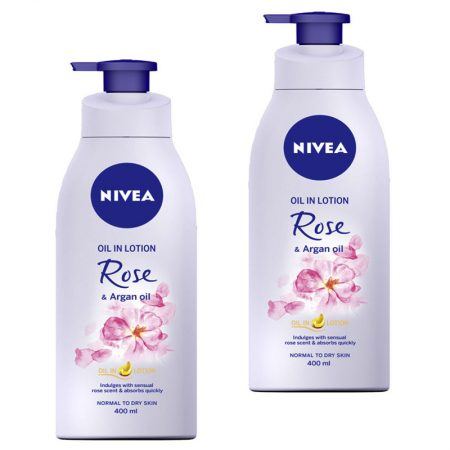 Nivea Rose and Argan Oil Body Lotion 400ml (Pack of 2)