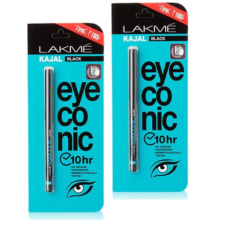Lakme Eyeconic Kajal, Black, 0.35g (Pack of 2)