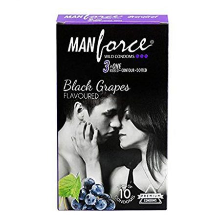 Manforce Black Grapes 3 IN ONE Condom-10 PCS