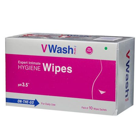 VWash Plus Intimate Hygiene Wipes – 10 Pieces