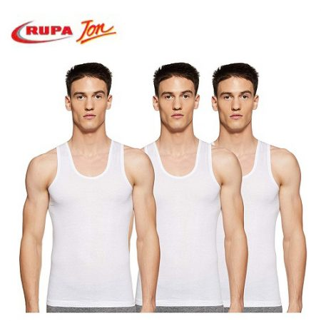Rupa Jon White Sleeveless Vest 80cm (pack of 3)