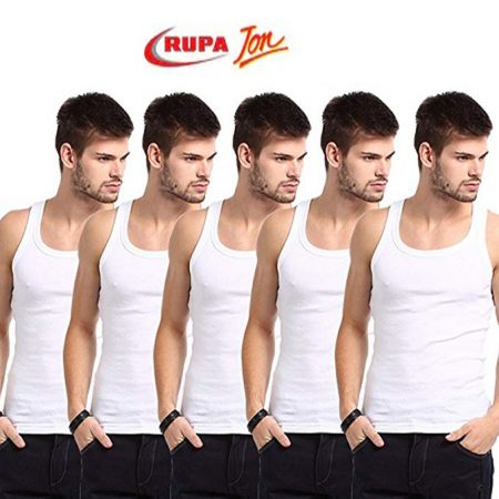 Rupa Jon White Sleeveless Vest 90cm (Pack of 5)