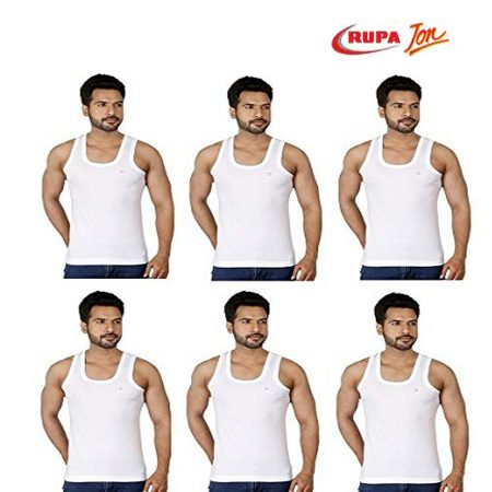 Rupa Jon White Sleeveless Vest 85cm (Pack of 6)