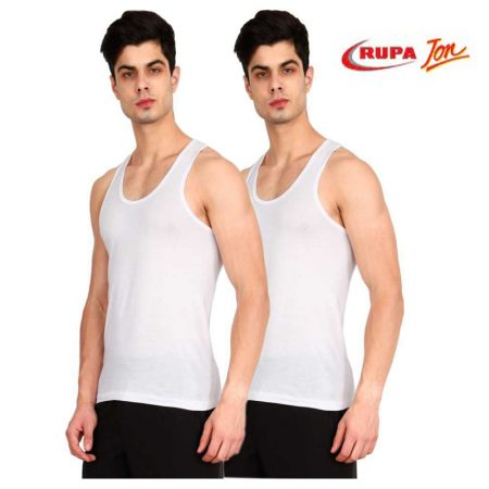 Rupa Jon White Sleeveless Vest 85cm (Pack of 2)