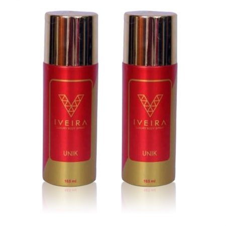 Iveira UNIK LUXURY Body Spray – For Men & Women  165ml (Pack of 2)