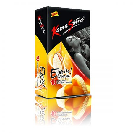 Kama Sutra Excite Series Condoms, Banana Flavoured-10s