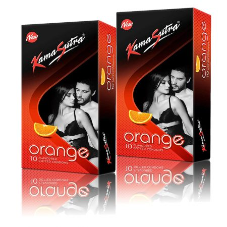 Kamasutra Orange Dotted Condom 10's (Pack of 2)
