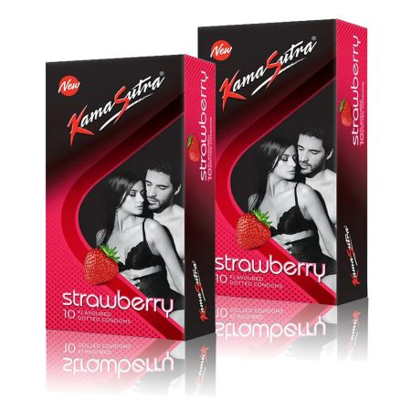 Kamasutra Strawberry Dotted Condom 10's (Pack of 2)