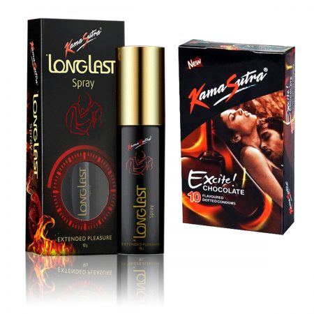 Kamasutra Long Last Spray & Excite Series Chocolate Condoms