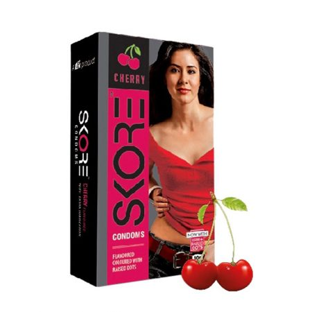 Skore Cherry Lubes & Cherry Dotted Condoms 10's