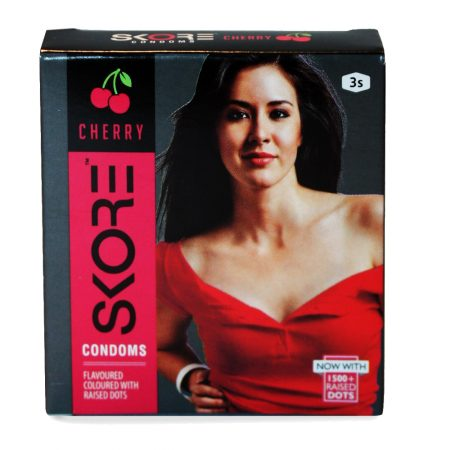 Skore Warm Lubes & Cherry Dotted Condoms 6's