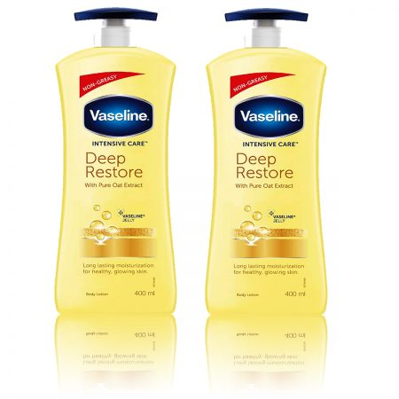 Vaseline Intensive Care Deep Restore Body Lotion, 400ml Pack of 2