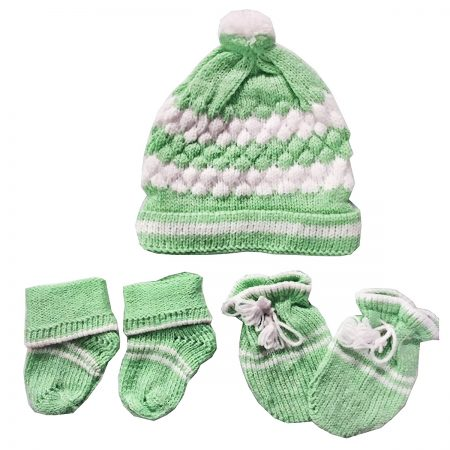 Baby Basics Soft Woolen Winter Cap Mitten Booties Set for Boys & Girls (Green)