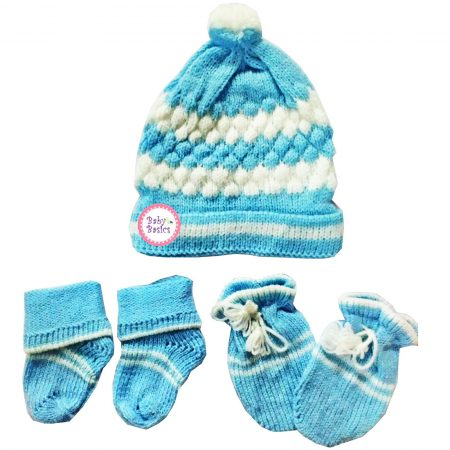 Baby Basics Soft Woolen Winter Cap Mitten Booties Set for Boys & Girls (Blue)
