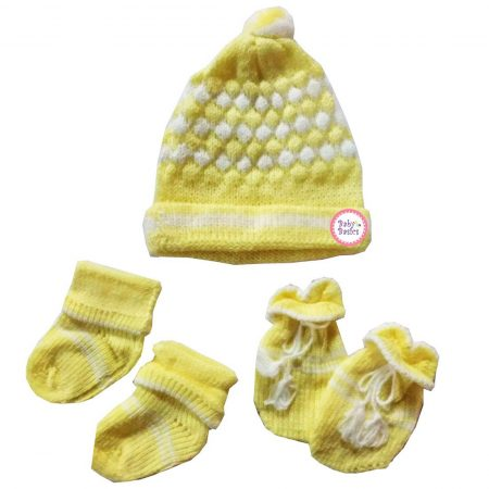 Baby Basics – Soft Woolen Winter Cap Mitten Booties Set for Boys & Girls