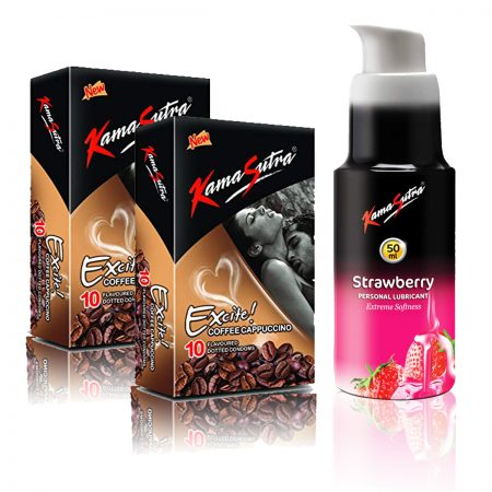 Kamasutra Strawberry Lubricant  & Excite Series Coffee Cappuccino Dotted Condom's
