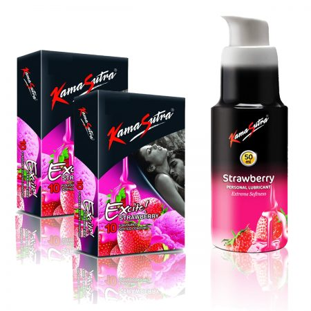 Kamasutra Strawberry Lubricant & Excite Series Strawberry Dotted Condom's