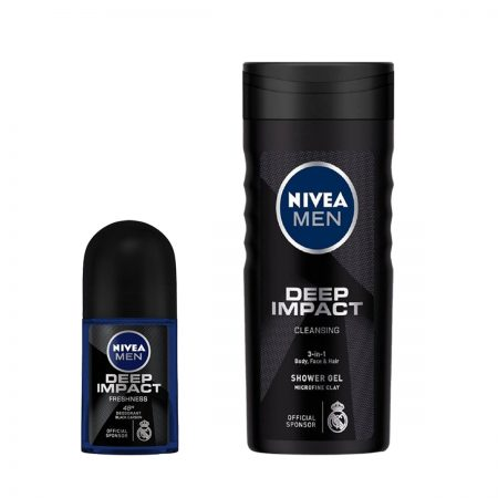 Nivea Men Deep Impact Roll On & Shower Gel for Men (Pack of 2)