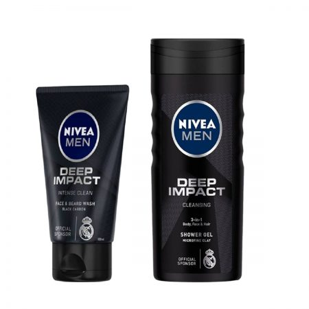 Nivea Men Deep Impact Shower Gel & Face Wash for Men (Pack of 2)