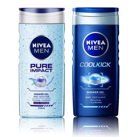 Nivea Men Pure Impact & CoolKick Shower Gel 250ml (Pack of 2)
