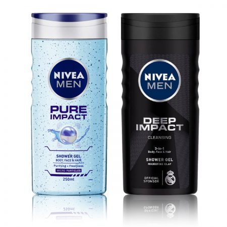 Nivea Men Pure Impact & Deep Impact Shower Gel 250ml (Pack of 2)
