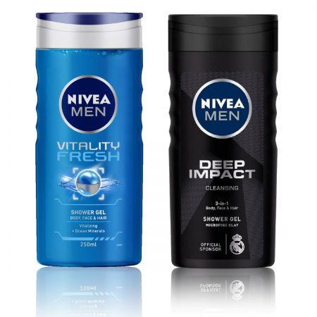 Nivea Men Vitality Fresh & Deep Impact Shower Gel 250ml (Pack of 2)