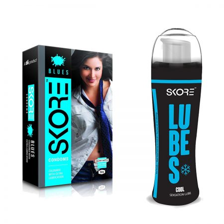 Skore Cool Lubes & Blues Dotted Condoms 10's