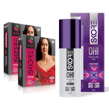 Skore OH Pleasure Gel for Women & Cherry Dotted Condoms 6's