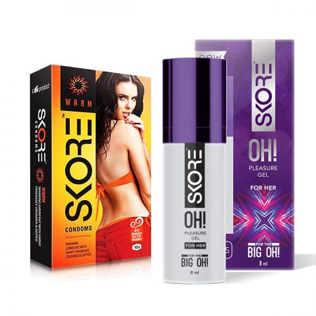 Skore OH Pleasure Gel for Women & Warm Dotted Condoms 10's