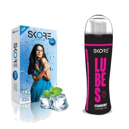 Skore Strawberry Lubes & Cool Dotted Condoms 10's
