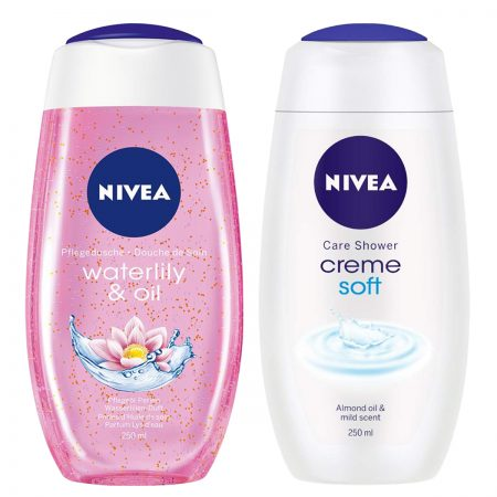 Nivea Creme Soft & Waterlily Oil Shower Gel 250ml (Pack of 2)